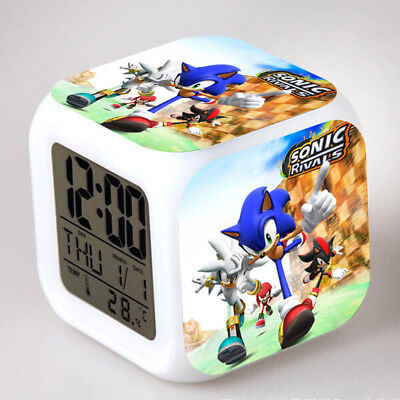 Sonic the Hedgehog Game Figures Color Changing Night Light Alarm Clock Kids Toy