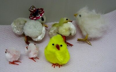Lot of 6 Vintage & Not as Old  Baby Easter Chicks Fluffy Fuzzy Foil Top Hat