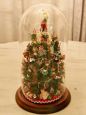 Vtg Miniature Christmas Tree w/ Ornaments, Candles, Bell Dome Cover WESTRIM?
