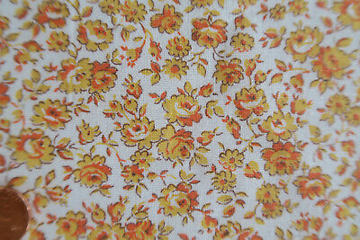 One VINTAGE FEEDSACK  RARE TINY  ORANGE FLOWERS 37X39 CLEANED PRESSED!
