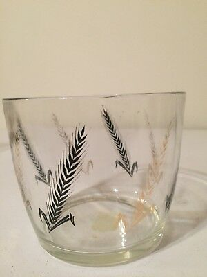 Vintage Glass Ice Bucket Ice Bowl Mid Century Gold and Black Wheat