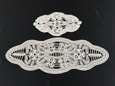 Vintage Romanian Point Lace/Crocheted~Ecru/Ivory ~Set Of 2 Doilies/Tablescarves