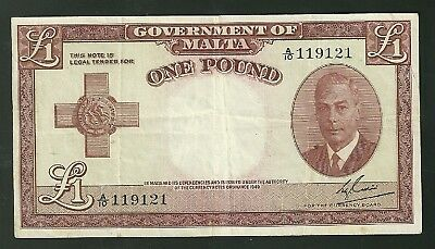 1949 Malta 1 Pound Bank Note P22 Currency Paper Money One Pound