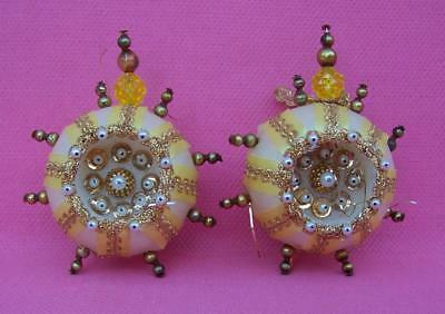 Victorian Look Mercury Glass Beads 2 Christmas Ornaments