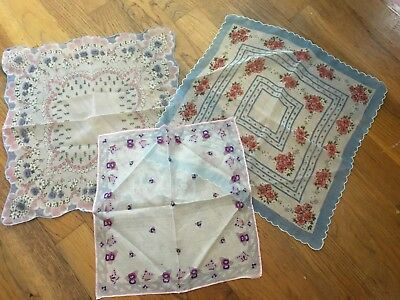 Lot of 3 Vintage Floral Hankies