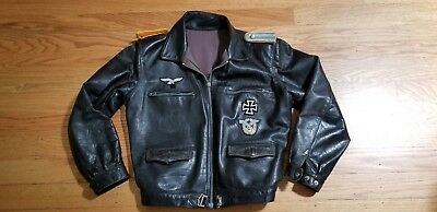 Ww2 Wwii German Pilot Short Waist Real Leather Jacket Awesome Condition