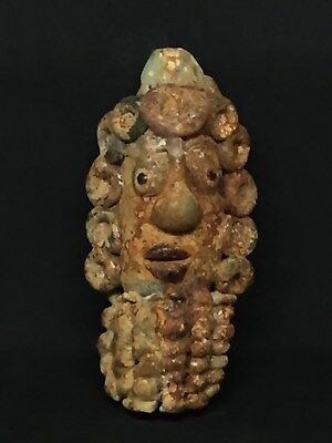 Rare Huge Ancient Phoenician Glass Mosiac Face Amulet Bead 300Bc