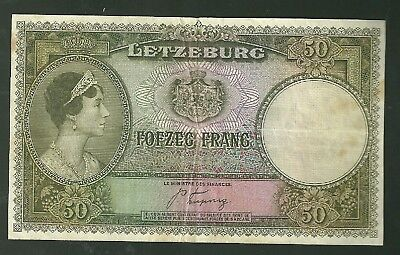 Luxembourg 50 Francs Bank Note Pick 46 Currency Paper Money Fofzeg Francs