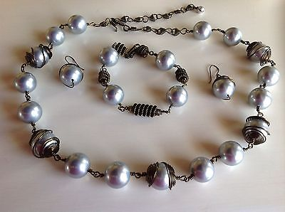 New! 3 Piece Set Large Grey Faux Pearls Finished in Antique Gold Metal
