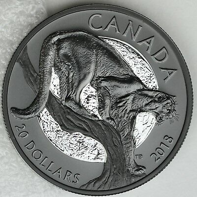 2018 $20 Nocturnal by Nature: The Cunning Cougar Pure Silver Black Rhodium Plate