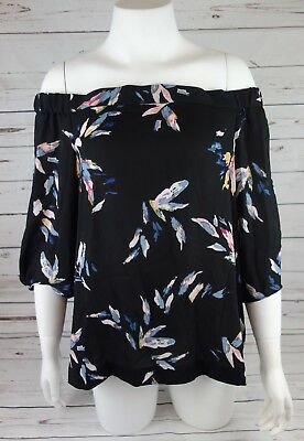 bebbc6804cfc3b NEW 1.STATE Women s Off-the-Shoulder Abstract Floral Blouse Rich Black MSRP