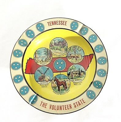 VINTAGE Metal Ashtray Tennessee The Volunteer State Holds 4 Cigarettes Retro