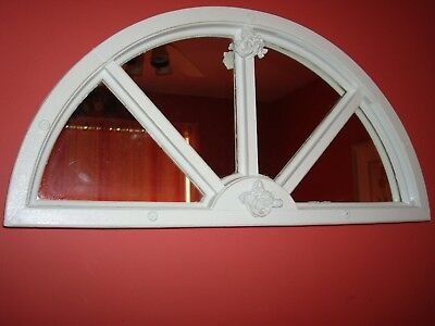 Primitive/Antique Arched Half Moon Mirrored~Window WDouble Florets~AUTHENTIC USA