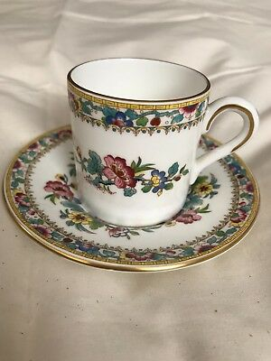 Coalport Bone China Ming Rose pattern demitasse flat bottom cup and saucer MINT!