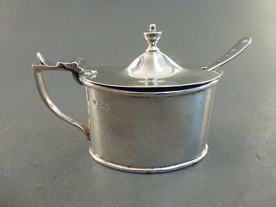 LARGE OVAL CHESTER SILVER MUSTARD POT, BLUE GLASS LINER,with associated spoon