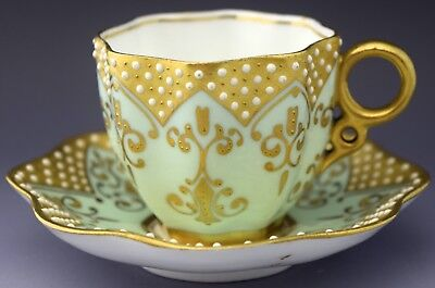 Coalport Demitasse Tea Cup & Saucer Gold Gilt Turquoise NO RESERVE Lot 3 of 90