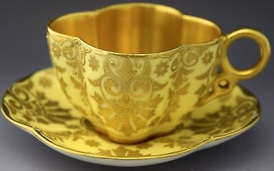 Coalport Demitasse Tea Cup & Saucer Gold Guilded Yellow NO RESERVE Lot 4 of 90
