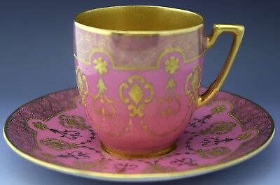 Coalport Tea Cup & Saucer Gold Guilded Pink Diamonds NO RESERVE Lot 9 of 90