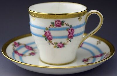 Minton Demitasse Tea Cup & Saucer Blue Stripes Roses Gilt NO RESERVE Lot 16