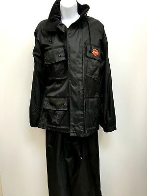 HARLEY DAVIDSON Womens Rain Suit Extra Small Jacket and Pants Overalls Black