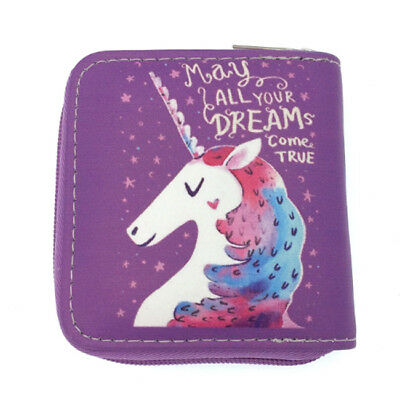 Ladies Cartoon Unicorn Wallet Purse PU Coin Credit Card Clutch Holder G