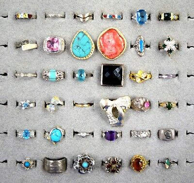 Lot Of 36 Rings Vintage Costume Fashion Cocktail Rhinestone Some Signed