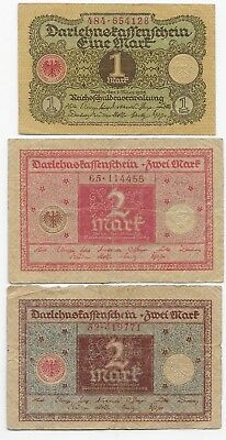 Germany Low Denomination Circulated Banknotes P-59, P-60, P-61, 1 & 2 Marks 1920