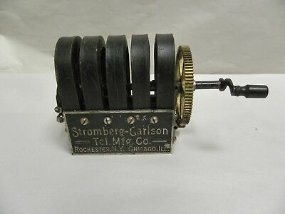 Vintage Antique 5 Bar Stromberg Carlson Telephone Magneto and Crank (A15)