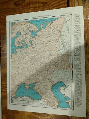 1942 Map of Eastern Europe To Urals - Map of Asia Continent On Reverse