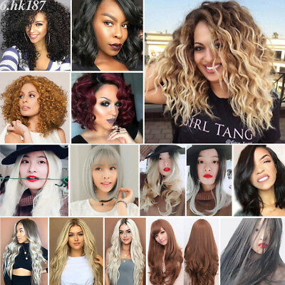 Women Full Wigs Long Hairpieces Cosplay Blonde Wavy Curly Straight Hair Wig Lot