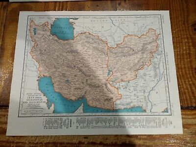1942 Map Of Iran Afghanistan & Baluchistan - Map of India On Back - Burma Inset
