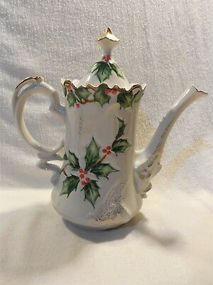 Vintage Lefton Japan Porcelain Christmas Holly Garland Tea Coffee Chocolate Pot