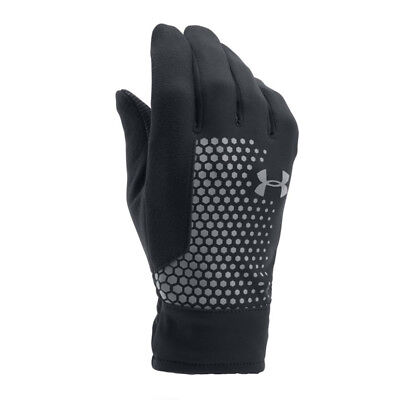 Under Armour Men Threadborne RUNNING GLOVES Reflective Black Silver ONE SIZE N11