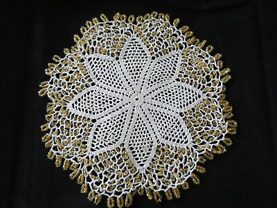 Exquisite Vintage Gold Beaded Sparkle Jug Cover or use as Doily