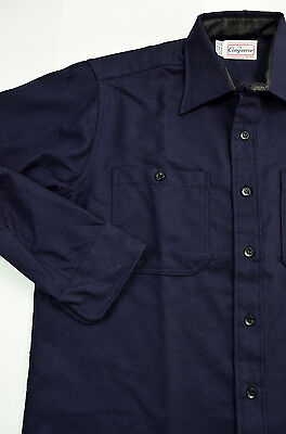 Vtg NOS Conqueror Wool Styled Service Shirt 16-34 Navy Union Made USA Deadstock