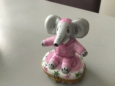 "RARE Girl Elephant with  Hair Bow Trinket Box  France 3.5"" (Large size)"