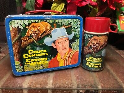 RARE!! Vtg. 1968 Chuck Conners Cowboy in Africa metal lunch box & thermos GC