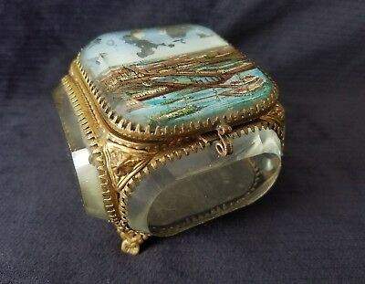 Antique 1893 Chicago Worlds Fair Thick Glass Reverse Painted Trinket Jewelry Box