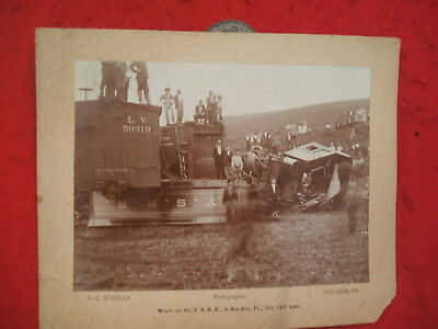 Rare!! Original!! York Southern Rr (M&p) Cabinet Photo Of Wreck At Ben Roy,pa.