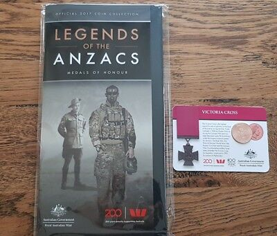 2017 Legends of the Anzacs Victoria Cross 25c Coin and folder