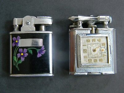 2 Vintage Cigarette Lighters - Chase Lift Arm Lighter & Newsol Watch & Ronson