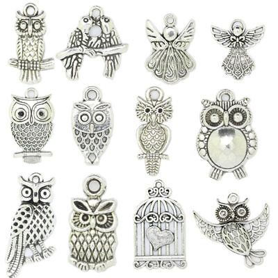 Antique Silver Owl Angel Fashion Charms Pendant Carfts DIY Jewelry Finding H