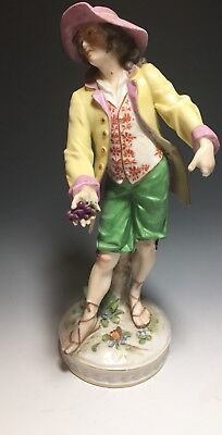 Capodimonte Dresden Continental Porcelain Figurine Man with Grapes