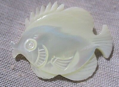 VINTAGE XL CARVED WHITE MOTHER OF PEARL GIANT WHITE FISH BUTTON  1-3/4th in