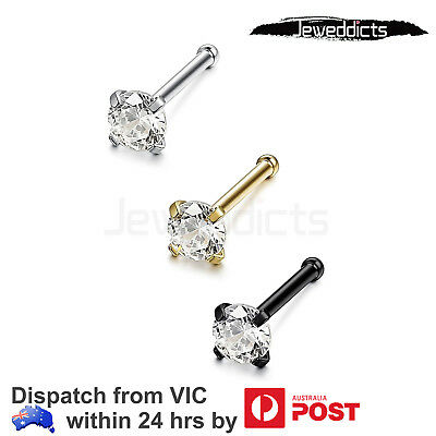 2PCS Stainless Steel Nose Rings Studs Piercing Ear Attractive Body Jewellery