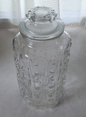 "Vintage  Large Glass Apothecary Jar Canister With Lid 12"" Tall"