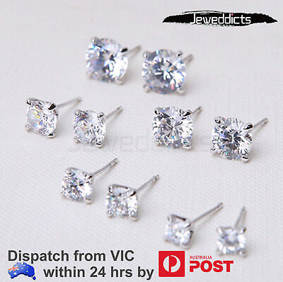 Sterling Silver !! Ear Studs Earring Bar Butterfly Back Zirconia 4Jaw Jewellery