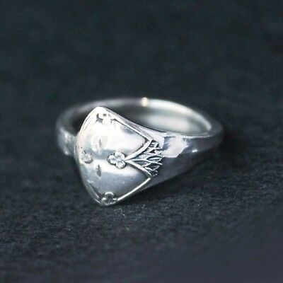 Antique Vintage - Silver Spoon Ring - Handcrafted from Antique cutlery - Size R