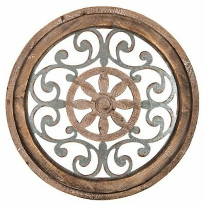 "Modern Elegant Brown Medallion Wood Metal Round Wall Art Plaque Home Decor 29""D"