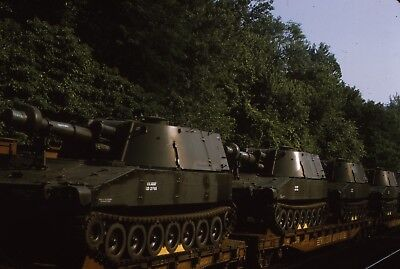 Original slide WM Western Maryland flat cars with military tanks in 1973
